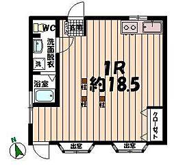 岳南電車 吉原本町駅 3.4kmの賃貸アパート 1階ワンルームの間取り