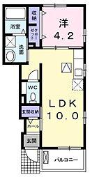 福岡県北九州市小倉南区上葛原1丁目の賃貸アパートの間取り