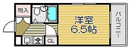 大阪府大阪市福島区野田2丁目の賃貸マンションの間取り