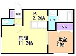 札幌市営東豊線 東区役所前駅 徒歩4分の賃貸マンション 1階1LDKの間取り