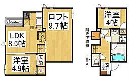 コンフォート ベネフィス 賀茂I[2階]の間取り