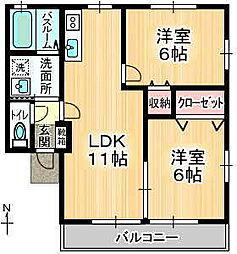 グリーンベイ2 A棟[2階]の間取り