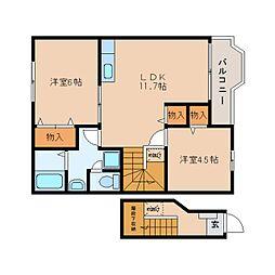 静岡県焼津市大村の賃貸アパートの間取り