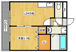 ランドベア21II[203号室号室]の間取り