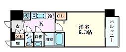 アドバンス大阪グロウス 5階1Kの間取り
