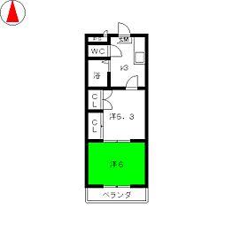 アルカディア鶴里[1階]の間取り
