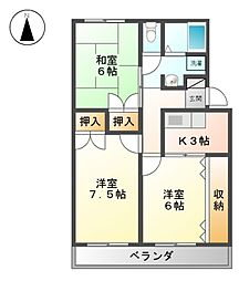 愛知県名古屋市北区中味鋺1丁目の賃貸アパートの間取り