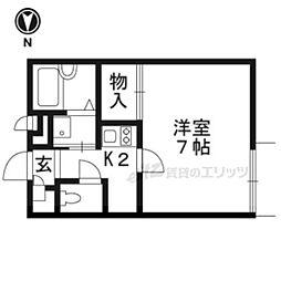 JR奈良線 JR小倉駅 徒歩7分の賃貸アパート 2階1Kの間取り