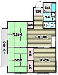 ヴィラ千代田[2階]の間取り