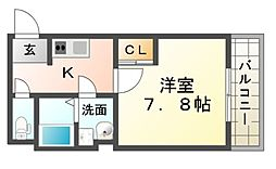 ラージヒル尼崎東[2階]の間取り