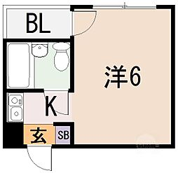 ジュネス八戸ノ里[2階]の間取り