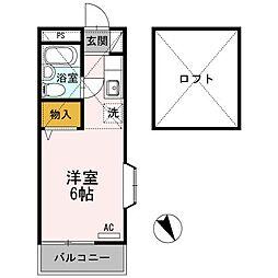 東京都八王子市子安町1丁目の賃貸アパートの間取り