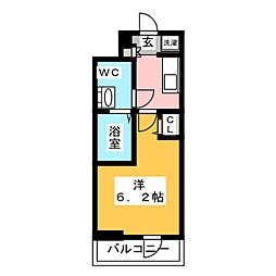 SHOKEN Residence亀有 4階1Kの間取り