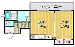 大阪府大阪市阿倍野区王子町3丁目の賃貸アパートの間取り