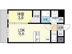 シェル新川 8階1LDKの間取り