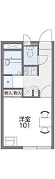 南海高野線 初芝駅 徒歩20分の賃貸アパート 2階1Kの間取り