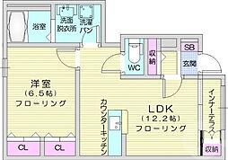 JR東北本線 南仙台駅 徒歩34分の賃貸アパート 1階1LDKの間取り