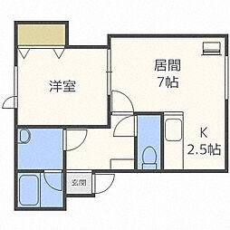 北海道札幌市中央区南十五条西13丁目の賃貸アパートの間取り
