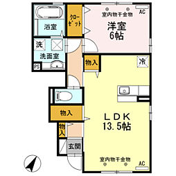 D−room小矢部[B105号室]の間取り