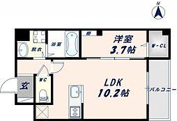 Osaka Metro千日前線 北巽駅 徒歩17分の賃貸マンション 2階1LDKの間取り