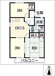 サンハイムIIA棟[2階]の間取り