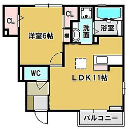 カトレア A棟[1階]の間取り