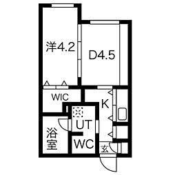 メニーズコート豊平川 5階1DKの間取り