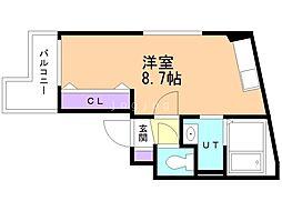 アレックス野幌II 3階ワンルームの間取り