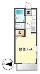 ハイユニL横前[2階]の間取り