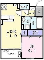 JR山陽本線 網干駅 徒歩37分の賃貸アパート 2階1LDKの間取り