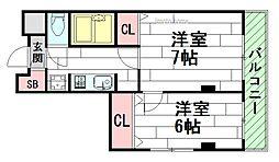 アルカサル江坂[6階]の間取り