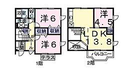 [テラスハウス] 滋賀県守山市浮気町 の賃貸【滋賀県 / 守山市】の間取り