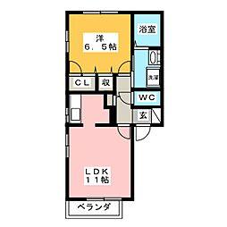 ハウスTMK D棟[1階]の間取り
