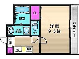 阪急京都本線 桂駅 バス8分 樫原鴫谷下車 徒歩4分の賃貸マンション 3階1Kの間取り