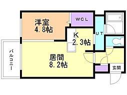 コローレE17 3階1LDKの間取り