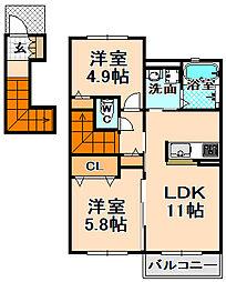 兵庫県伊丹市東有岡2丁目の賃貸アパートの間取り