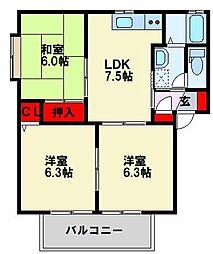 セゾン永犬丸A棟[2階]の間取り
