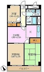 神奈川県横浜市緑区竹山1丁目の賃貸マンションの間取り