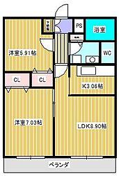 t.m.place I[2階]の間取り