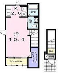 福岡県久留米市山川追分1丁目の賃貸アパートの間取り