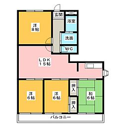 三重県四日市市大井手1丁目の賃貸マンションの間取り