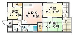 第2若草ハイツ[4階]の間取り