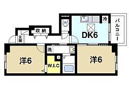 JR関西本線 大和小泉駅 徒歩20分の賃貸アパート 1階2DKの間取り