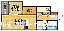 福岡県福岡市博多区吉塚3丁目の賃貸アパートの間取り