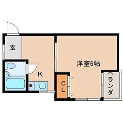 奈良県奈良市富雄北3丁目の賃貸アパートの間取り