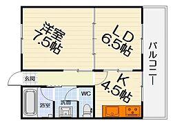 大阪府堺市西区津久野町2丁の賃貸マンションの間取り