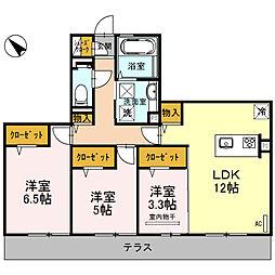 (仮称)D-room和泉市池上町3丁目[1B号室]の間取り