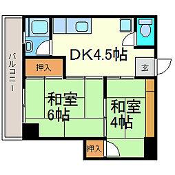 新日本ビル[6B号室]の間取り