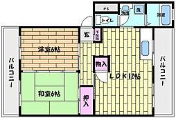 兵庫県芦屋市東山町の賃貸マンションの間取り
