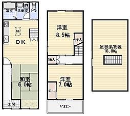 [テラスハウス] 大阪府守口市菊水通1丁目 の賃貸【/】の間取り